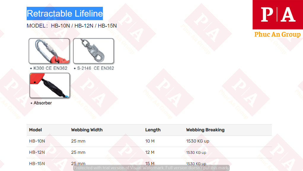 đặc điểm và thông số của hộp dây chống rơi HB-12N