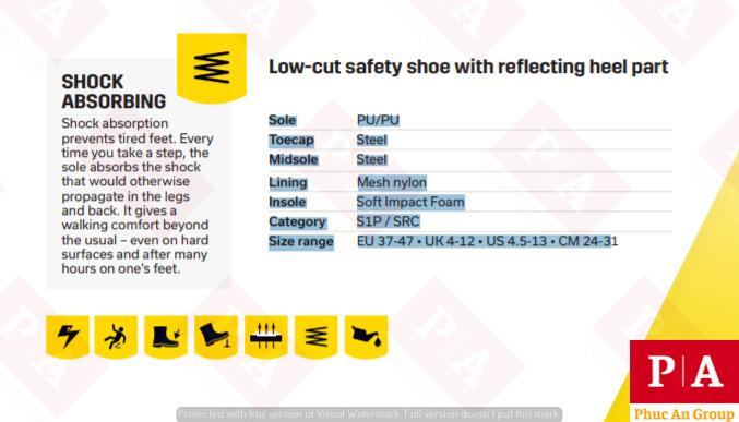 đặc điểm kĩ thuật của giày bảo hộ advance s1p jogger